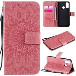 Embossing Sunflower Leather Wallet Case for Huawei P Smart (2020) - Pink