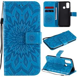 Embossing Sunflower Leather Wallet Case for Huawei P Smart (2020) - Blue
