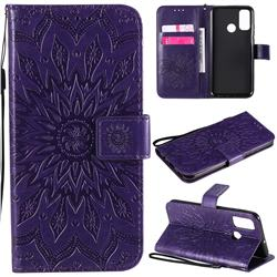 Embossing Sunflower Leather Wallet Case for Huawei P Smart (2020) - Purple