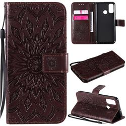 Embossing Sunflower Leather Wallet Case for Huawei P Smart (2020) - Brown