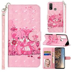 Pink Bear 3D Leather Phone Holster Wallet Case for Huawei P Smart (2020)