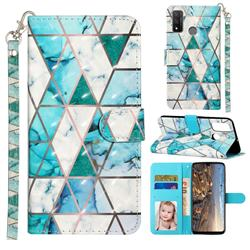 Stitching Marble 3D Leather Phone Holster Wallet Case for Huawei P Smart (2020)