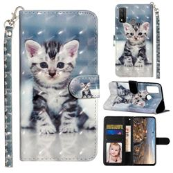 Kitten Cat 3D Leather Phone Holster Wallet Case for Huawei P Smart (2020)