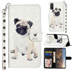 Pug Dog 3D Leather Phone Holster Wallet Case for Huawei P Smart (2020)