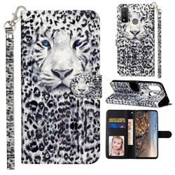 White Leopard 3D Leather Phone Holster Wallet Case for Huawei P Smart (2020)