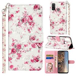 Rambler Rose Flower 3D Leather Phone Holster Wallet Case for Huawei P Smart (2020)