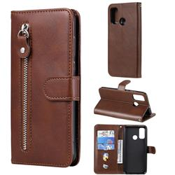 Retro Luxury Zipper Leather Phone Wallet Case for Huawei P Smart (2020) - Brown