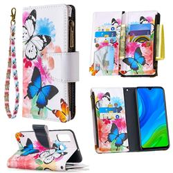 Vivid Flying Butterflies Binfen Color BF03 Retro Zipper Leather Wallet Phone Case for Huawei P Smart (2020)
