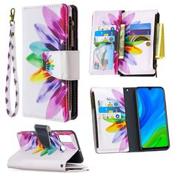 Seven-color Flowers Binfen Color BF03 Retro Zipper Leather Wallet Phone Case for Huawei P Smart (2020)