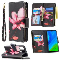 Lotus Flower Binfen Color BF03 Retro Zipper Leather Wallet Phone Case for Huawei P Smart (2020)