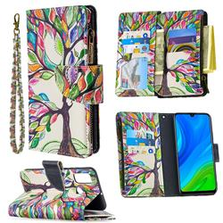 The Tree of Life Binfen Color BF03 Retro Zipper Leather Wallet Phone Case for Huawei P Smart (2020)