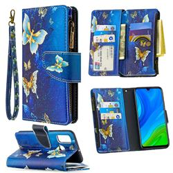 Golden Butterflies Binfen Color BF03 Retro Zipper Leather Wallet Phone Case for Huawei P Smart (2020)