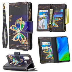 Golden Shining Butterfly Binfen Color BF03 Retro Zipper Leather Wallet Phone Case for Huawei P Smart (2020)
