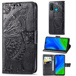 Embossing Mandala Flower Butterfly Leather Wallet Case for Huawei P Smart (2020) - Black