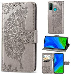 Embossing Mandala Flower Butterfly Leather Wallet Case for Huawei P Smart (2020) - Gray