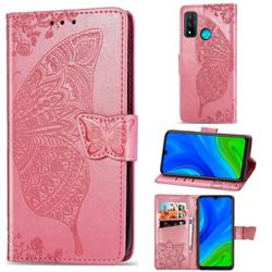Embossing Mandala Flower Butterfly Leather Wallet Case for Huawei P Smart (2020) - Pink