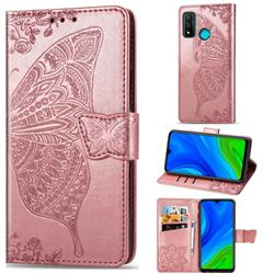 Embossing Mandala Flower Butterfly Leather Wallet Case for Huawei P Smart (2020) - Rose Gold