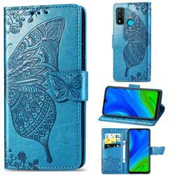 Embossing Mandala Flower Butterfly Leather Wallet Case for Huawei P Smart (2020) - Blue