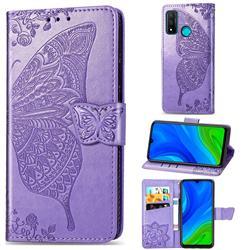 Embossing Mandala Flower Butterfly Leather Wallet Case for Huawei P Smart (2020) - Light Purple