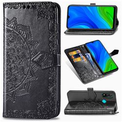 Embossing Imprint Mandala Flower Leather Wallet Case for Huawei P Smart (2020) - Black