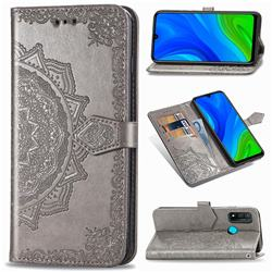 Embossing Imprint Mandala Flower Leather Wallet Case for Huawei P Smart (2020) - Gray