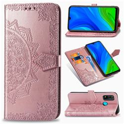 Embossing Imprint Mandala Flower Leather Wallet Case for Huawei P Smart (2020) - Rose Gold