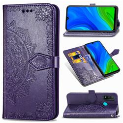 Embossing Imprint Mandala Flower Leather Wallet Case for Huawei P Smart (2020) - Purple