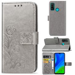 Embossing Imprint Four-Leaf Clover Leather Wallet Case for Huawei P Smart (2020) - Grey