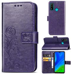 Embossing Imprint Four-Leaf Clover Leather Wallet Case for Huawei P Smart (2020) - Purple