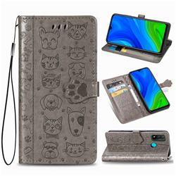 Embossing Dog Paw Kitten and Puppy Leather Wallet Case for Huawei P Smart (2020) - Gray