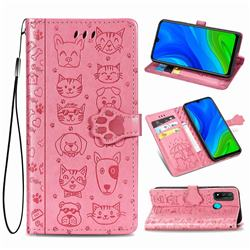 Embossing Dog Paw Kitten and Puppy Leather Wallet Case for Huawei P Smart (2020) - Pink