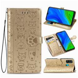Embossing Dog Paw Kitten and Puppy Leather Wallet Case for Huawei P Smart (2020) - Champagne Gold