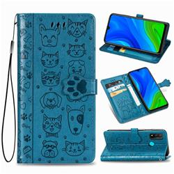 Embossing Dog Paw Kitten and Puppy Leather Wallet Case for Huawei P Smart (2020) - Blue