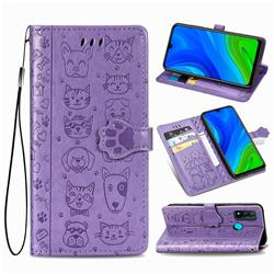 Embossing Dog Paw Kitten and Puppy Leather Wallet Case for Huawei P Smart (2020) - Purple