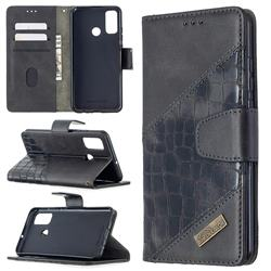 BinfenColor BF04 Color Block Stitching Crocodile Leather Case Cover for Huawei P Smart (2020) - Black