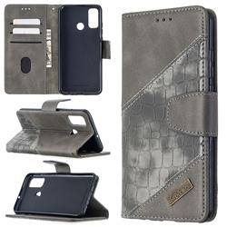 BinfenColor BF04 Color Block Stitching Crocodile Leather Case Cover for Huawei P Smart (2020) - Gray
