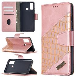 BinfenColor BF04 Color Block Stitching Crocodile Leather Case Cover for Huawei P Smart (2020) - Rose Gold