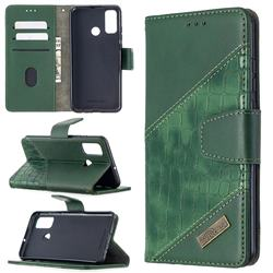 BinfenColor BF04 Color Block Stitching Crocodile Leather Case Cover for Huawei P Smart (2020) - Green
