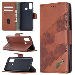 BinfenColor BF04 Color Block Stitching Crocodile Leather Case Cover for Huawei P Smart (2020) - Brown