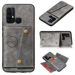 Retro Multifunction Card Slots Stand Leather Coated Phone Back Cover for Huawei P Smart (2020) - Gray