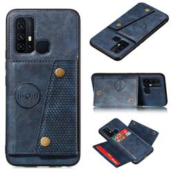 Retro Multifunction Card Slots Stand Leather Coated Phone Back Cover for Huawei P Smart (2020) - Blue