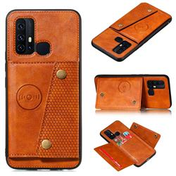 Retro Multifunction Card Slots Stand Leather Coated Phone Back Cover for Huawei P Smart (2020) - Brown