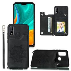 Luxury Mandala Multi-function Magnetic Card Slots Stand Leather Back Cover for Huawei P Smart (2020) - Black