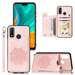 Luxury Mandala Multi-function Magnetic Card Slots Stand Leather Back Cover for Huawei P Smart (2020) - Rose Gold