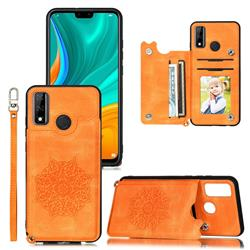 Luxury Mandala Multi-function Magnetic Card Slots Stand Leather Back Cover for Huawei P Smart (2020) - Yellow