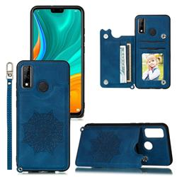 Luxury Mandala Multi-function Magnetic Card Slots Stand Leather Back Cover for Huawei P Smart (2020) - Blue
