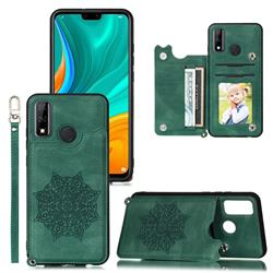 Luxury Mandala Multi-function Magnetic Card Slots Stand Leather Back Cover for Huawei P Smart (2020) - Green