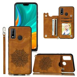 Luxury Mandala Multi-function Magnetic Card Slots Stand Leather Back Cover for Huawei P Smart (2020) - Brown
