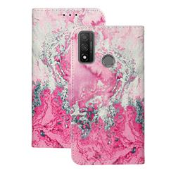 Pink Seawater PU Leather Wallet Case for Huawei P Smart (2020)