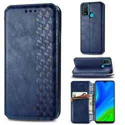 Ultra Slim Fashion Business Card Magnetic Automatic Suction Leather Flip Cover for Huawei P Smart (2020) - Dark Blue